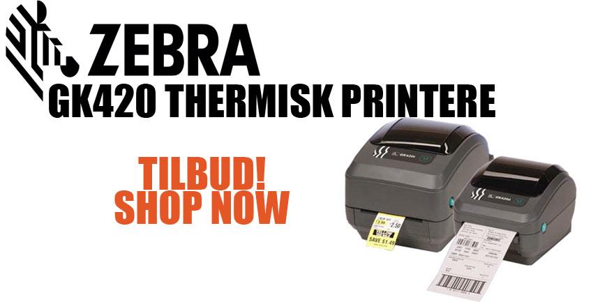Zebra GK420 Thermisk Printere. TILBUD!